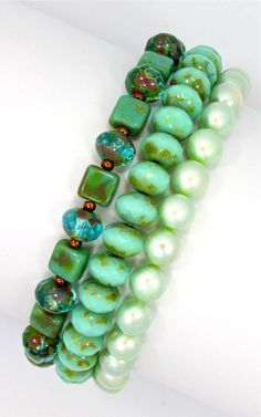 Three strands of turquoise crystals and pearls, $24.00