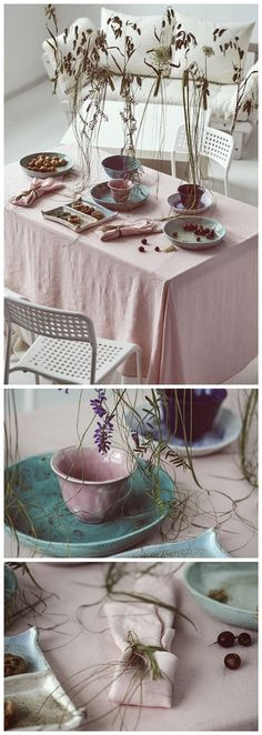 Few stylish natural linen details, attractive handmade dishes on your table, tasty healthy delicacies and you will be surrounded by fabulous atmosphere that will make you feel perfection while eating with your beloved family or friends. #linen #tablecloth #napkins #table #decor #floral #handmade #plates #dishes #tableware #summer #perfection #rose #pink #delicacy #appetizer #natural #organic #family #time #tableware