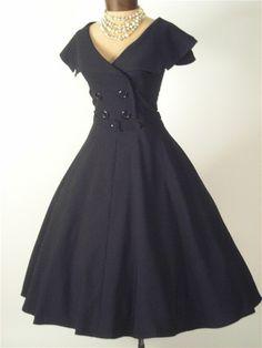"""Bettie Page 50s Vintage Style Black """"Secretary"""" Swing Dress"""