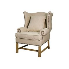 Andre Wingback Chair Beige Wingbacks ($659) ❤ liked on Polyvore featuring home, furniture, chairs, accent chairs, wingback armchair, wing-back arm chair, wingback accent chair, nailhead chair and off white accent chair
