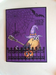 It's Halloween with the Crazy Birds by Carolinakathy - Cards and Paper Crafts at Splitcoaststampers (birthday cards for friends tim holtz) Crazy Bird, Crazy Dog, Crazy Cats, Halloween Paper Crafts, Halloween Cards, Halloween 6, Cat Cards, Bird Cards, Weird Holidays