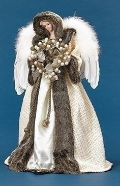 Roman Ivory and Faux Fur Angel with Wreath Christmas Tree Topper Unlit *** Click image to examine even more details. (This is an affiliate link). Christmas Angel Decorations, Angel Christmas Tree Topper, Christmas Angels, Christmas Wreaths, Christmas Ornaments, Rustic Christmas, Christmas Home, Christmas Crafts, Christmas Things
