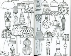 My monthly sketchbook challenge. January 2016 - Day 27 of the 31 things to draw challenge: lamp. Klika Design illustrations. #LampIllustration