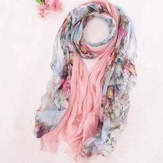 women's flower pattern textile printing #blue #scarves