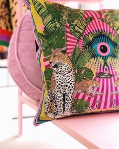 Silk eye leopard jungle cushion in pink 💕👁🐆 Handmade and hand drawn in Britain with lots of care and love! Pink Cushions, Printed Cushions, Handmade Cushions, Eclectic Decor, Of Wallpaper, Inspired Homes, My Living Room, Soft Furnishings, Chinoiserie