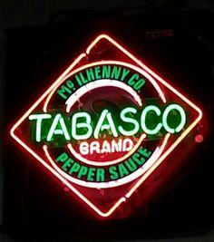 Tabasco neon sign at night
