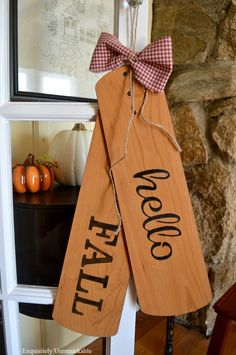 Repurposed Ceiling Fan Blade Welcome Fall Door Tags – Ceiling Fall Crafts, Decor Crafts, Painted Fan Blades, Fan Blade Art, Ceiling Fan Blades, Ceiling Fans, Ceiling Fan Makeover, Wood Tags, Welcome Fall
