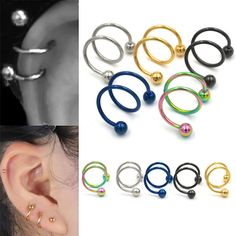 piercing jewelry on sale at reasonable prices, buy 5 Colors Gauge Ball Surgical Steel Double Spiral Twister Barbell Earring Ear Cartilage Rings Tragus Piercing Jewelry from mobile site on Aliexpress Now! Helix Piercings, Tragus Piercing Jewelry, Cartilage Ring, Barbell Earrings, Cute Ear Piercings, Cuff Earrings, Body Piercing, Piercings Bonitos, Helix Ear