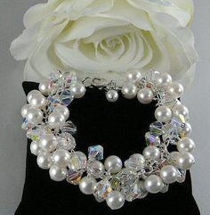 Pearl Crystal Cluster Bridal Bracelet. Swarovski Wedding Bracelet