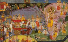 The meeting of Rama and Parasurama, painted by Manohar (Mewar school, 1649).
