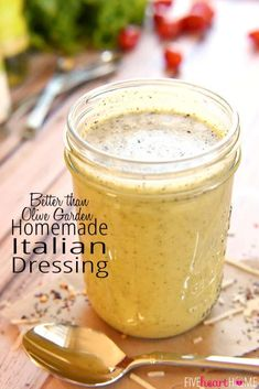 Homemade Italian Dressing ~ this zippy, zesty dressing rivals the one from Olive Garden! It's delicious on salads and makes an excellent marinade…plus it's all-natural and easy to make! dressing Better than Olive Garden HOMEMADE ITALIAN DRESSSING Italian Dressing Recipes, Homemade Italian Dressing, Salad Dressing Recipes, Salad Dressing Homemade, Kraft Zesty Italian Dressing Recipe, Golden Italian Dressing Recipe, Italian Salad Dressings, Pasta Salad Dressings, Salad Dressing Healthy