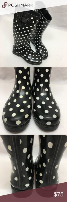 Twisted Rubber Drizzy Polka Dot Rainboots Twisted Drizzy black/white polka dot rubber rain boots. Near perfect condition with no flaws. Size 8. Twisted Shoes Winter & Rain Boots