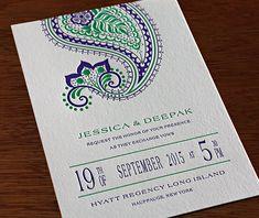 Elaborate Paisleys: The New Letterpress Design- Regency | Invitations by Ajalon | http://invitationsbyajalon.com/