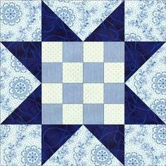 Quilt Block Patterns: Sawtooth Star with 16-Patch Center