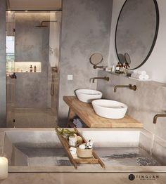 Jaren 30 badkamer inrichting met brons kleurig san... - #badkamer #brons #inrichting #Jaren #kleurig #met #salledebain #San