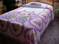 Pretty chenille bedspread with 2 colorful peacocks in by designer2, $225.00