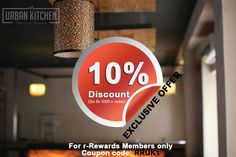 Special offer at Urban Kitchen -  Get flat 10% off on any order of Rs 1000 or above at #UrbanKitchen. On top of that earn 10% (of bill amount) rewards points. This offer is exclusive for r-Rewards members only.  T&C apply. http://r-rewards.com/user/login