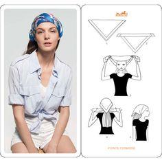 How to Wear Hermes Silk Scarf ? Head Accessories | hot sale high heels via Polyvore