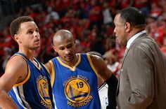 The Warriors' Stephen Curry, Leandro Barbosa, and future Pelicans head coach Alvin Gentry.