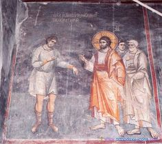 The frescoes of the cathedral Protata in Kars, Athos. - Manuel Panselina