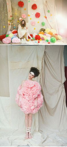 Drapped fabric backdrops and fabric-floral ornaments-- so romantic for a wedding photobooth!