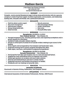 receptionist resume objective receptionist resume is relevant with customer services field receptionist is a person - First Resume Objective