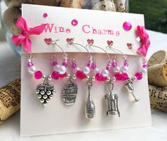 Wine Charms Pink Wine Glass Charms Set of 5 by LasmasCreations Wine Tasting Party, Wine Parties, Little Gifts, Gifts For Mom, Painted Wine Glasses, Wine Glass Charms, Wine Gifts, Birthday Party Favors, Craft Fairs