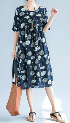 Women loose fit over plus size pocket dress retro flower tunic summer fashion #Unbranded #dress #Casual