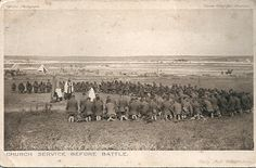 """Church Service Before Battle"" depicts a group of World War I-era soldiers kneeling to pray at a church service before going into battle. RNS photo courtesy J. M.Peace. 100th anniversary outbreak of WWI —  conflict that left 37 million dead or wounded and reshaped the global map — a number of scholars and authors are examining a facet of the war they say has been overlooked — the religious framework they say led to the conflict, affected its outcome and continues to impact global events…"