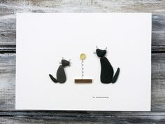 Pebble Art Cats by Maine Artist M. McGuinness!