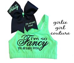 "Custom Glitter ""I'm So Fancy"" Sports Bra & Bow - Multiple Colors Available"