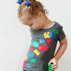 Easy tutorial to make a cute falling lego blocks shirt. Perfect back to school shirt for the kids!
