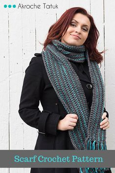 I love the two tone look of this crochet scarf.  I'll have to try it out.   Pattern only! Nordik scarf crochet pattern by Akroche Tatuk #ad #etsy