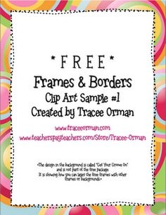 Classroom Freebies: Free Frames & Borders Commercial-Use Clip Art Grap. Free Frames And Borders, Borders Free, Free Boarders, Lisa Martinek, Es Der Clown, Classroom Freebies, Classroom Ideas, Art Classroom, Frame Clipart