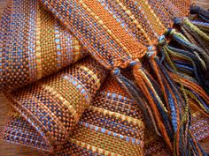 handwoven scarf, curry orange with bamboo ribbon lariat