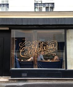 candelaria. a mexican restaurant in paris, 52 rue saintonge, 75003. logo by david rager; hand painted sign by jacky georges.