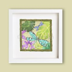 REPIN!!!! BUY!!! CLICK HERE: Entitled: Dragon-Fly and Tropical Foliage- From original watercolor painting-art print-Wall Art-poster Limited edition - wall decor by Farida Zaman $35