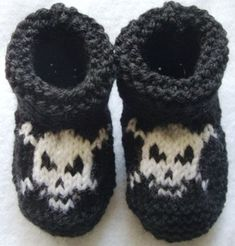 Baby Pirate hand knitted booties - 12-18 months - Many colors availab…