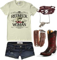 """""""'Cause I'm a redneck woman, I ain't no high class fraud. Just a product of my raisin', I say hey y'all ye haw. Country Style Outfits, Country Girl Style, Country Fashion, Country Girls, My Style, Country Life, Country Strong, Rodeo Outfits, Western Outfits"""