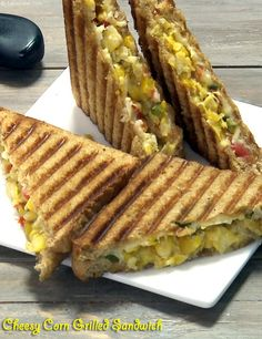 Cheesy Corn Grilled Sandwich recipe | by Tarla Dalal | Tarladalal.com | #41227