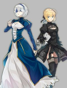 Finally I see ( NieR Automata) with Arturia (Fate stay night) Artist: etopirika from NieR:Automata Fate Stay Night, Fate Zero, Elsword, Female Characters, Anime Characters, Drakengard Nier, Fan Art Anime, Arturia Pendragon, Anime Lindo