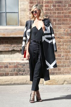 Nikki Phillips.. wearing a Camilla and Marc coat.. #mbfwa