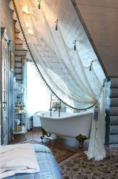 shower curtain on sloped ceiling - Google Search