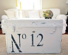 No. 12 White Vintage Trunk (Reserved Listing)  The N is upsidedown I think.