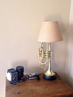 Repurposed vintage cornet table lamp with a black metal base with burlap lampshade by MusicAsArtBySarah on Etsy