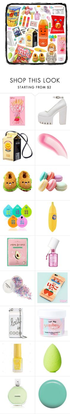 """Snack time"" by beanpod ❤ liked on Polyvore featuring beauty, Moschino, Chantecaille, Chupa Chups, Forever 21, Holika Holika, TONYMOLY, Lacvert, Benefit and Chanel"