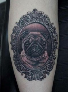 People tattoo weird, bizarre things.  When they're done beautifully, they still intrigue me, even if I would NEVER EVER get the same tattoo.  For example, a photo of a pug in a Victorian frame.  Hmmm...