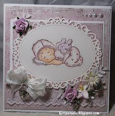 Kortparadis Handmade Håndlaget Scrapping Scrappe Baby Babycard Babykort Korthobby Korthobby.no Magnolia