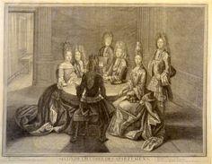 Seconde chambre des appartements - gravure de 1694 par Antoine TROUVAIN (1656-1708) représentant LOUIS XIV à Versailles jouant aux cartes avec le duc et la duchesse de Bourbon ainsi que la princesse de Conti.