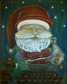 by marymakeskeepsakes on Etsy Santa, Caricatures, Portrait, Unique Jewelry, Handmade Gifts, Holiday, Artwork, Pictures, Stuff To Buy
